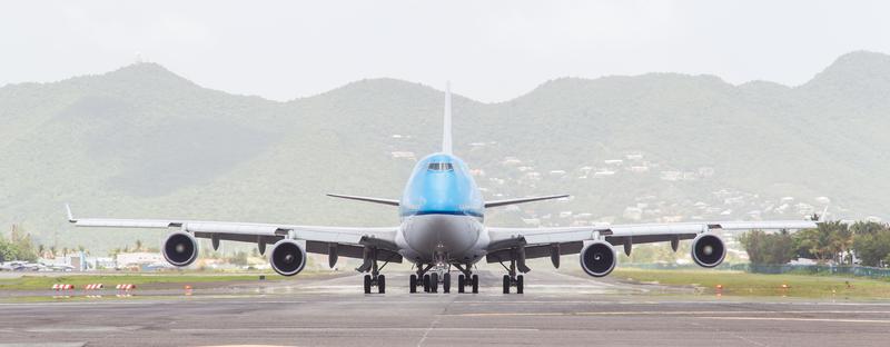 ST MARTIN, ANTILLES - JULY 19, 2013: Boeing 747 aircraft on therunway at Princess Juliana International Airport in Netherlands Antilles in July 19, 2013 in St Martin.