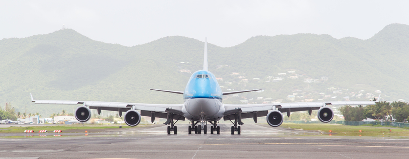 ST MARTIN, ANTILLES - JULY 19, 2013: Boeing 747 aircraft on therunway at Princess Juliana International Airport in Netherlands Antilles in July 19, 2013 in St Martin.